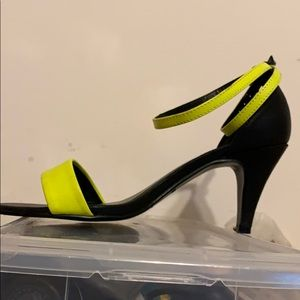Neon Lime Green Ankle Strap Heels 6.5